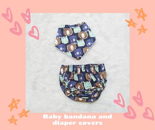 bib bandana and diaper cover_leaves_Bear
