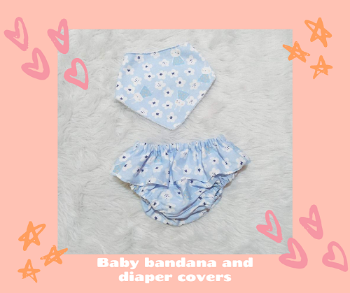 bib bandana and diaper cover_leaves_Blue Bunny