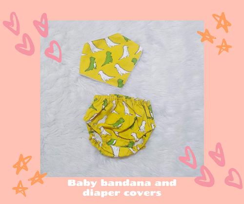 bib bandana and diaper cover_leaves_Dinosaur