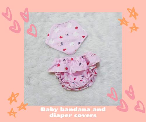 bib bandana and diaper cover_leaves_Hearts